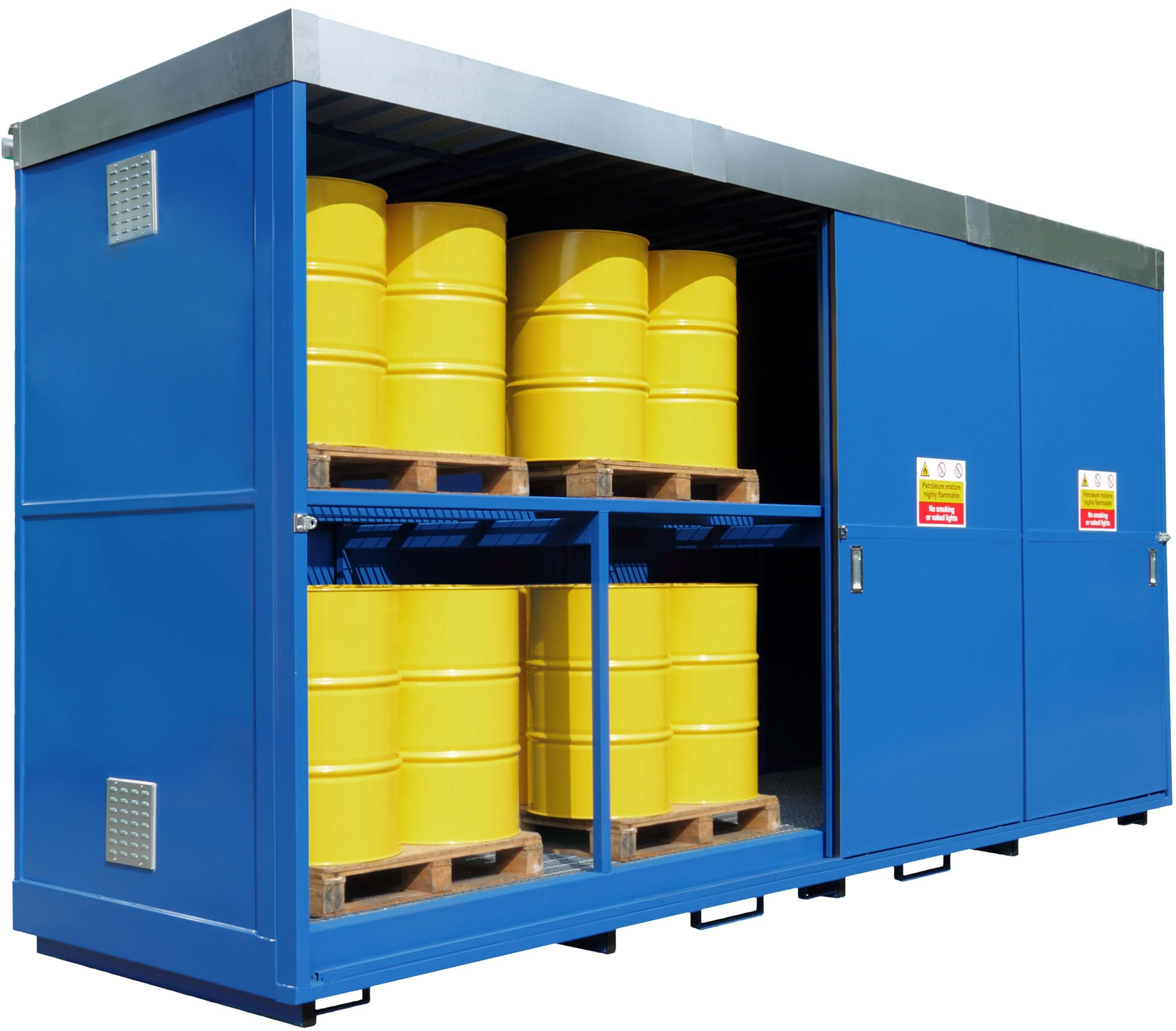 Bunded 32 Drum Storage Unit Steel Yellowshield