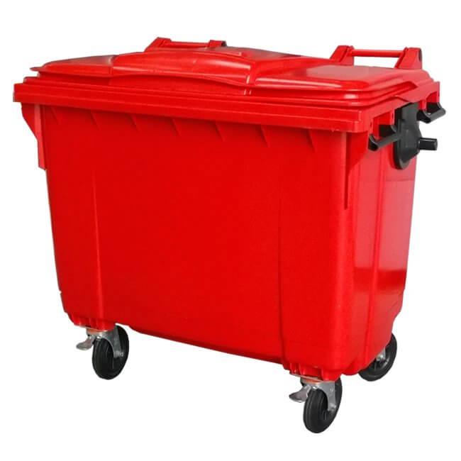 660 Litre Red Wheelie Bin